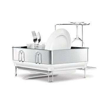 Simplehuman Odkapávač na nádobí, kompaktní ocelový rám, matná ocel/bílý plast, FPP (KT1167)