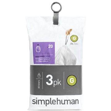 Pytle na odpadky Simplehuman Sáčky do koše typ G, 30l, 3 x balení po 20 ks (60 sáčků) (CW0257)