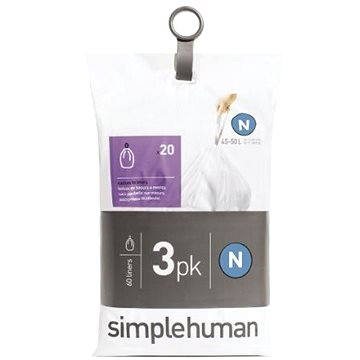 Pytle na odpadky Simplehuman Sáčky do koše typ N, 45-50l, 3 x balení po 20 ks (60 sáčků) (CW0262)