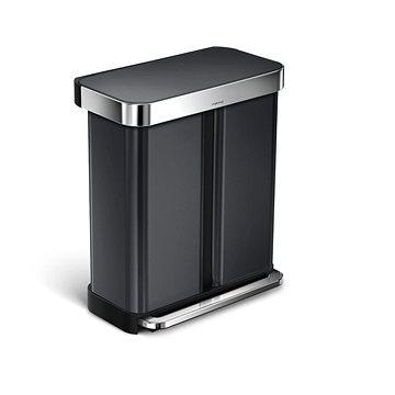 Simplehuman pedálový odpadkový koš na tříděný odpad 58L (34/24), černá ocel (CW2054)