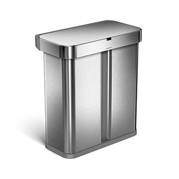 Simplehuman bezdotykový odpadkový koš na třídený odpad s hlasovým a pohybovým sensorem, 58L, nerez o (ST2015)