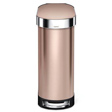Simplehuman SLIM pedálový odpadkový koš 45L, oválný, ROSE GOLD nerez ocel (CW2067)