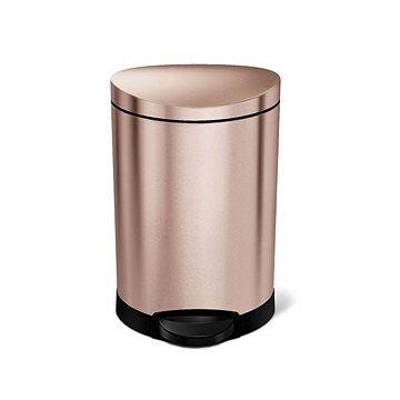 Simplehuman pedálový 6L, Rose Gold nerez ocel, půlkulatý, FPP povrch odolný proti otiskům (838810021003)