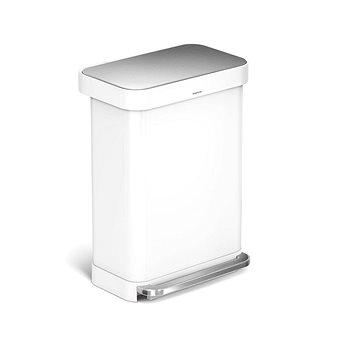 Simplehuman pedálový 55L, bílá nerez ocel, obdélníkový (838810018133)