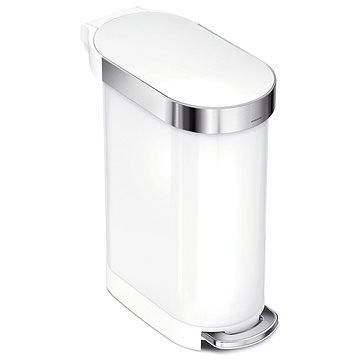 Simplehuman úzký pedálový 45L, Slim, oválný, bílá nerez ocel (838810021478)