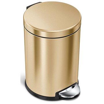 Simplehuman pedálový 4,5L, Mosaz Gold nerez ocel, kulatý, FPP povrch odolný proti otiskům (838810021720)
