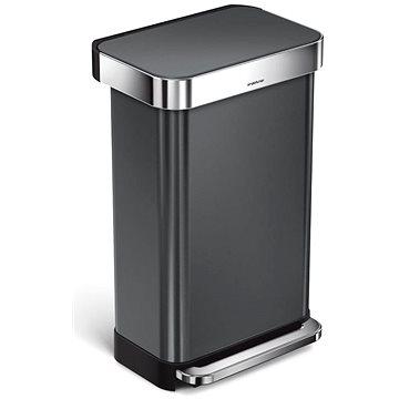 Simplehuman pedálový 45L, černá nerez ocel, obdélníkový, FPP povrch odolný proti otiskům (838810020839)