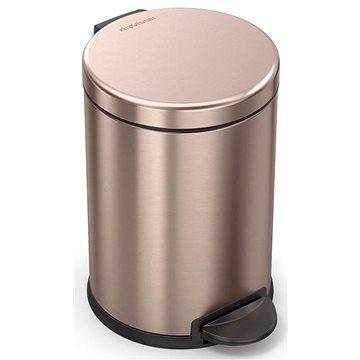 Simplehuman pedálový 4,5L, Rose Gold nerez ocel, kulatý, FPP povrch odolný proti otiskům (838810020990)