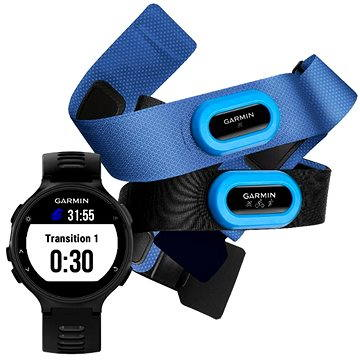 Sporttester Garmin Forerunner 735XT, Black & Gray Tri Bundle (010-01614-09)
