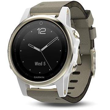 Chytré hodinky Garmin Fenix 5S Sapphire, Goldtone, white band (010-01685-13)