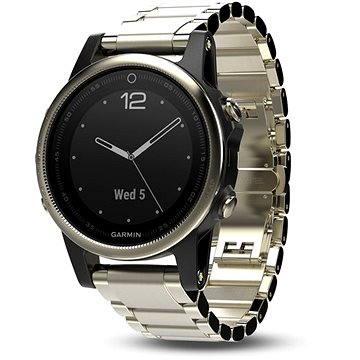 Chytré hodinky Garmin Fenix 5S Sapphire, Goldtone, Metal band (010-01685-15)