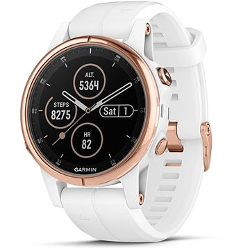 Garmin Fenix 5S Plus Sapphire Rose Gold Optic Carrera White Band (010-01987-07)