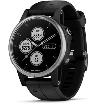 Garmin Fenix 5S Plus Silver Optic Black Band (010-01987-21)