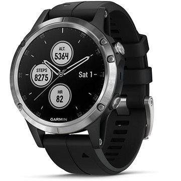 Garmin Fenix 5 Plus Silver, Black Band (010-01988-11)