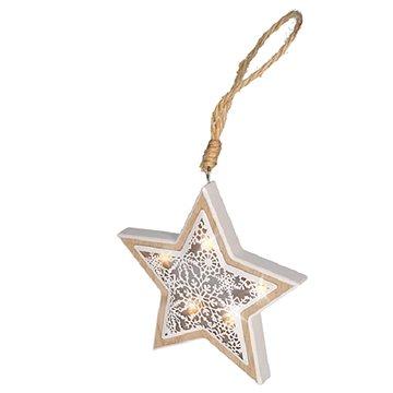 Solight LED vánoční hvězda, dřevěný dekor (1V45-S)