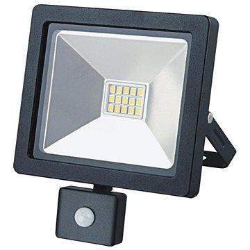 LED venkovní reflektor SLIM, 10W, 700lm, 3000K, se senzorem, černý (WM-10WS-G)