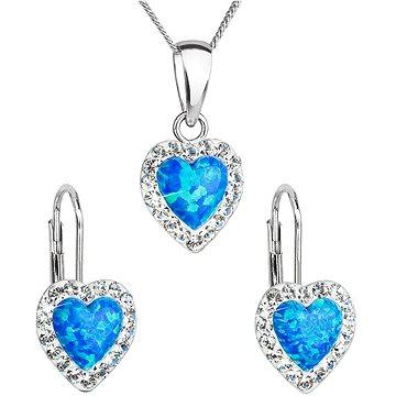 EVOLUTION GROUP 39161.1 modrý synt. opál souprava dekorovaná krystaly Swarovski® (925/1000, 2 g) (8590962394276)