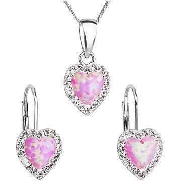 EVOLUTION GROUP 39161.1 růžový synt. opál souprava dekorovaná krystaly Swarovski® (925/1000, 2 g) (8590962394283)