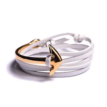 LAVALIERE Dámský náramek s kotvou - bílé kožené lanko, kotva - 454046-Z (8595652114349)