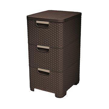 Curver Rattan Style skříňka 3x14L tmavě hnědý (06604-210)