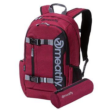 Meatfly Basejumper 5 Backpack Heather Burgundy + penál zdarma (8590201728435)