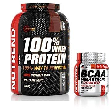 Nutrend 100% Whey Protein, 2250g, vanilka + Nutrend BCAA Mega Strong Powder, 300 g, pomeranč