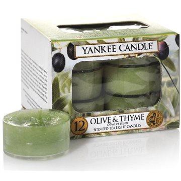 Svíčka YANKEE CANDLE čajové svíčky 12 x 9,8 g Olive & Thyme (5038580070552)