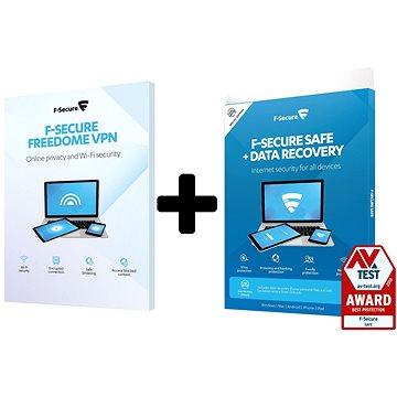 F-Secure SAFE DR + FREEDOME pro 3 zařízení na 1 rok + Data Recovery pro 1 zařízení na 1 rok (elektro (FCFXBR1N003XY+FCFDBR1N003E1)