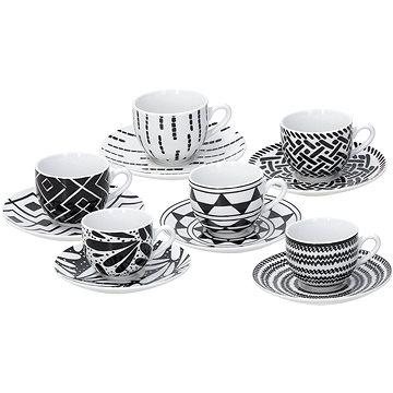 Tognana Sada šálků na kávu s podšálky 6ks 90ml METROPOLIS MANDALA BLACK (ME085015582)