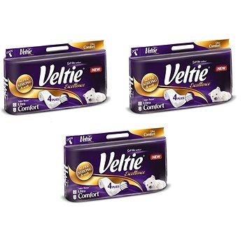 Sada VELTIE Excellence White 3 × 8 ks + ZDARMA Toaletní papír Veltie Moist Toilet Tissue Camomille&Aloe Vera (42 ks)