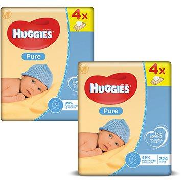 HUGGIES Pure Quatro Pack 2 × (4 × 56 ks) + ZDARMA Kartáč Vileda kuchyňský kartáček na sklenice