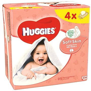 HUGGIES Quatro Pack Soft Skin (4x56ks) - čistící ubrousky