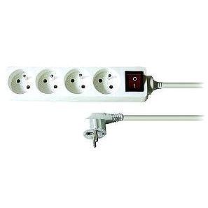 Solight Prodlužovací přívod, 4 zásuvky, bílý, vypínač, 3m (PP32)