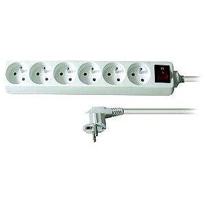Solight Prodlužovací přívod, 6 zásuvek, bílý, vypínač, 3m (PP72)