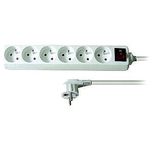 Solight Prodlužovací přívod, 6 zásuvek, bílý, vypínač, 5m (PP73)