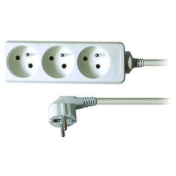 Solight Prodlužovací kabel, 3 zásuvky, bílý, 1.5m (PP01)