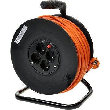 PremiumCord prodlužovací kabel 250V 25m buben, 4x zásuvka, oranžový (ppb-01-25)