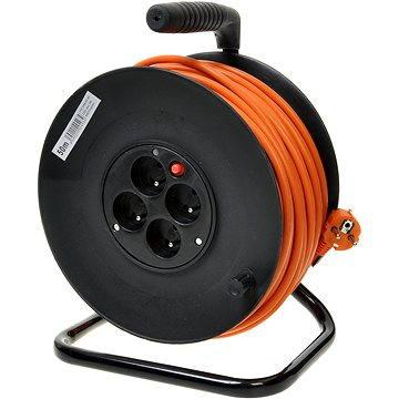 PremiumCord prodlužovací kabel 220V 50m buben, 4x zásuvka, oranžový (8592220004934)