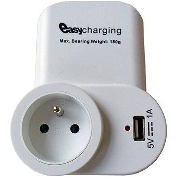 Solight DC23 USB nabíjecí adaptér 1x USB bílý, s držákem
