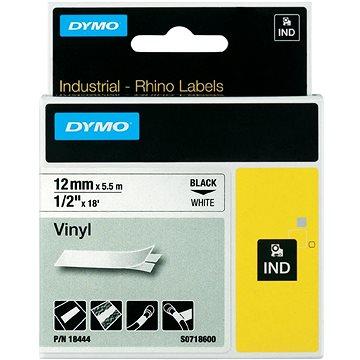 Páska do štítkovače DYMO 18444 (S0718600), 12 mm, IND RHINO, 5.5 m, černá/bílá (776860)