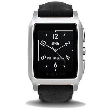 Chytré hodinky Vector Meridian broušená ocel s černým koženým řemínkem (M1-20-005)