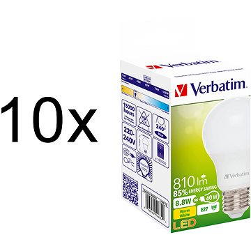 Verbatim 8.8W LED E27 2700K set 10ks (52632-10ks)