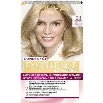 Barva na vlasy LORÉAL PARIS Excellence Creme 9.1 Blond velmi světlá popelavá (3600523231928)