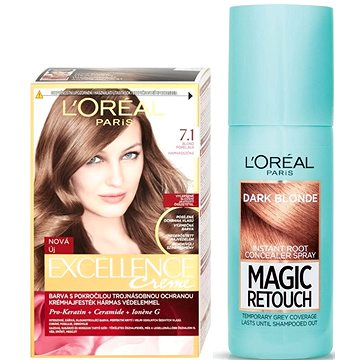 Sada LORÉAL PARIS Excellence Creme 7.1 + Magic Retouch 4