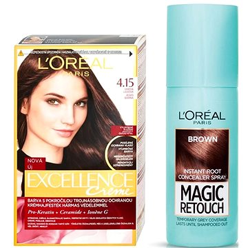 Sada LORÉAL PARIS Excellence Creme 4.15 + Magic Retouch 3