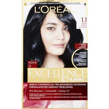 Barva na vlasy LORÉAL PARIS Excellence Creme 1.1 temně černá (3600523425525)