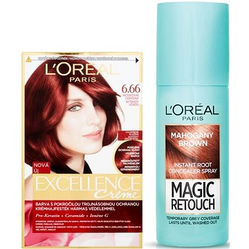 Sada LORÉAL PARIS Excellence Creme 6.66 + Magic Retouch 6