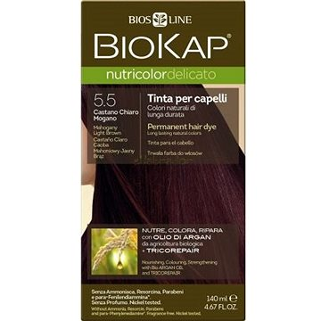 Barva na vlasy BIOKAP Nutricolor Delicato Mahogany Light Brown Gentle Dye 5.50 140 ml (8030243010469)