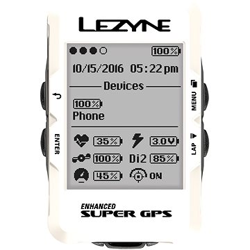 Lezyne Mega C GPS White (1-GPS-MEGAC-V104)