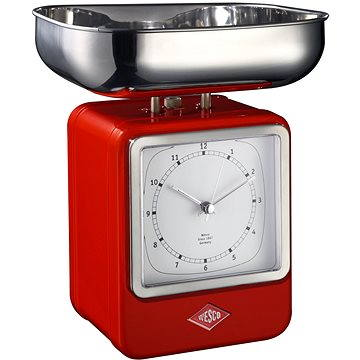 Wesco Retro kuchyňská váha s hodinami červená (322204-02)